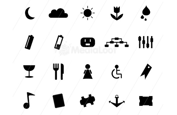 Monochrome Symbols Icon Set