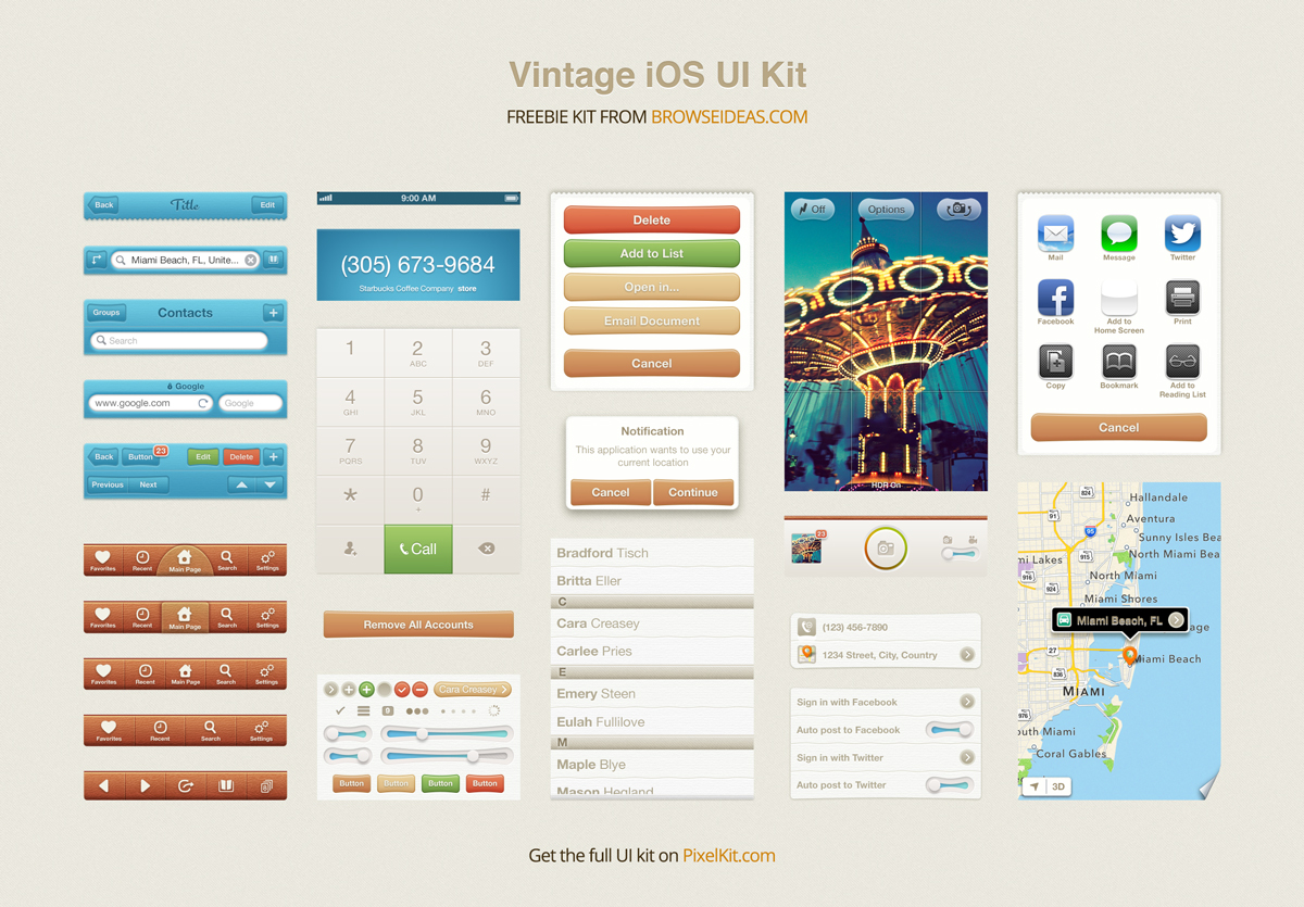 Vintage iOS UI Kit